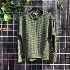 Philosophy green sweater cardigan army M cute